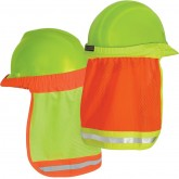 HARD HAT SHADE ORANGE OR GREEN HIGH VISIBILTY MESH REFLECT