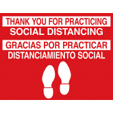 THANK YOU FOR  PRACTICING SOCIAL DISTANCING RED/WHITE (ENGLISH AND SPANISH) NON-SLIP