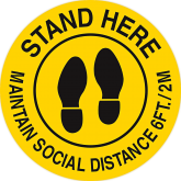 17''X17'' STAND HERE MAINTAIN SOCIAL DISTANCE 6FT YELLOW/BLACK NON-SLIP