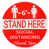 6' STAND HERE SOCIAL DISTANCING STICKER 7''X7'' 5PK