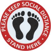 PLEASE KEEP SOCIAL DISTANCING STAND HERE  7''X7'' NON SLIP MATERIAL
