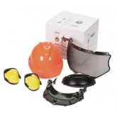 MSA V-GUARD HARD HAT W/FACESHIELD BRACKET FULL BRIM W/4PT. RATCHET EAR MUFFS SUSPENSION - ORANGE